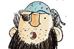 Tom Disbury Illustration - Tom, Disbury, Tom Disbury, Digital, Photoshop, Illustrator, educational, fiction, picture book, editorial, young reader, YA, ya, character, pirates, captain, skull, crossbones, humour, funny eye patch, small, crisps,