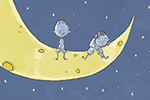 Tom Tinn-Disbury Illustration - Tom, Disbury, Tom Disbury, Digital, Photoshop, Illustrator, educational, fiction, picture book, editorial, YA, young reader, moon, stars, night time, night, colour, boy, children, people, person, bird, water, sea, cute, sweet