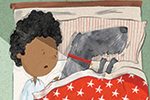 Tom Tinn-Disbury Illustration - Tom, Disbury, Tom Disbury, Digital, Photoshop, Illustrator, fiction, picture book, editorial, young reader, character, boy, child, dog, pet, animal, bed, bedroom, naughty, cheeky, mischievous, sleeping, duvet, writing, pen, paper, cute, sweet, funny,