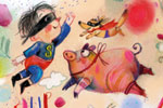 Tanja Stephani Illustration - tanja, stephani, tanja stephani, trade, commercial, picture book, painted, hand drawn, traditional, pencil, texture, colour, colourful, dream, fantasy, superhero, child, kid, boy, person, character, figure, animals, pig, whale, elephant, crazy, wacky