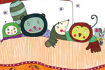 Valeria Valenza Illustration - valeria, valenza, valeria valenza, paint, painted, traditional, decoration, decorative, trade, sophisticated, picture book, picture book, day, night, bed, animals, friends, friendship, rabbit, bear, monkey, bird, owl, pattern, bed, pillows