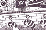 Valeria Valenza Illustration - valeria, valenza, valeria valenza, paint, painted, traditional, decoration, decorative, trade, sophisticated, picture book, picture book, black line, black and white, line, ship, boat, pirate ship, balloon, hot air balloon, pattern, stars, moon, clouds, w