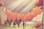 Xavier Bonet Illustration - xavier bonet, xavier, bonet, commercial, fiction, mass market, young reader, picture book, novelty, painted, traditional, digital, photoshop, illustrator, mountain, landscape, horse, horses, animals, knights, men, figures, person, people, lake, fantasy, a